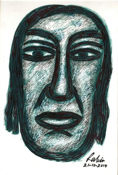 """Rabin Mondal, 'Head, Mixed Media on Paper, Green, Black Colours by Modern Artist """"In Stock""""', 2014"""
