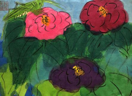 Walasse Ting 丁雄泉, 'Grasshopper and Three Roses', ca. 1990
