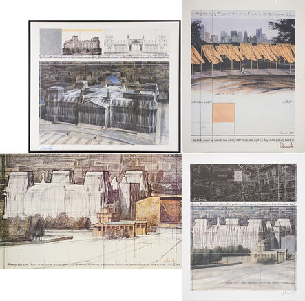 Christo, 'Wrapped Reichstag (Project for  Berlin), Wrapped Reichstag (Project for  Berlin), The Gates (Project for Central  Park, N.Y. City), Wrapped Reichstag  (Project for der Deutsche Reichstag - Berlin)'