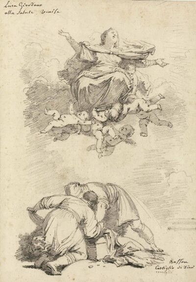 Jean-Honoré Fragonard, 'The Assumption of the Virgin, after Luca Giordano, and two figures, after Antonio Vassilacchi, l'Aliense'
