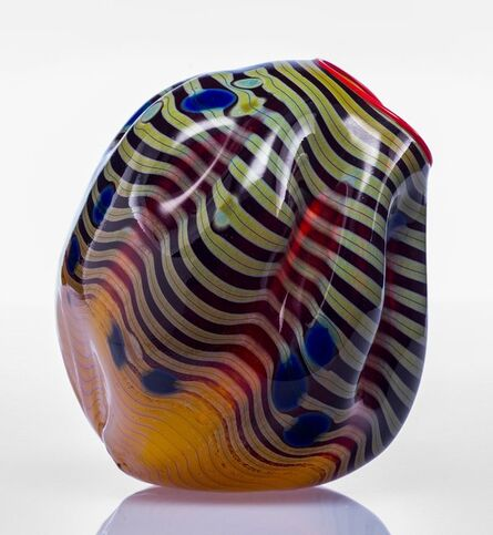 Dale Chihuly, 'Radiant Yellow and Blue Vase with Red Lip Wrap'