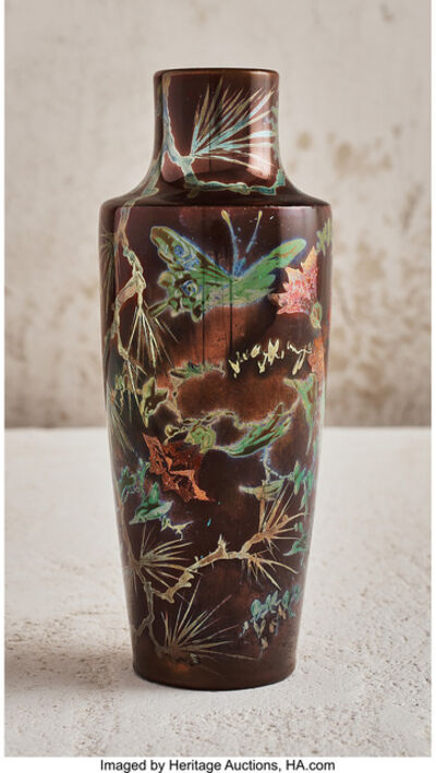 Delphin Massier, 'Flower and Insect Vase', 1897