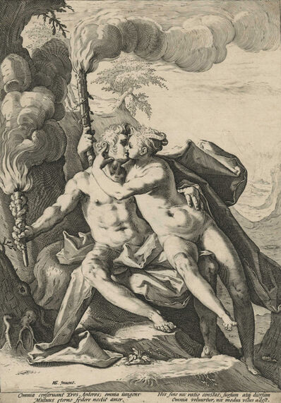 Jacob Matham, 'Requited Love Represented by Eros and Anteros [After Hendrick Goltzius]', ca. 1588