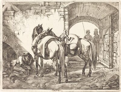 Johann Adam Klein, 'Cossack Horses in a Courtyard', 1818