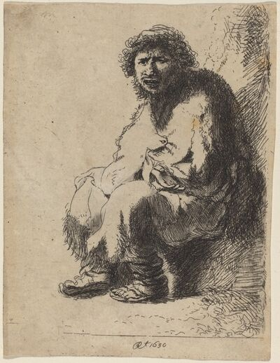Costantino Cumano after Rembrandt van Rijn, 'Beggar Seated on a Bank'