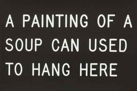 William Anastasi, 'A Painting of a Soup Can Used to Hang Here (231/250)', 1991