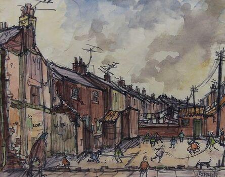 Norman Cornish, 'Street scene with children playing'