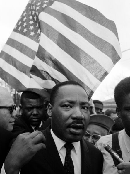 Steve Schapiro, 'Martin Luther Kinj jr. with Flag during Selma March', 1965