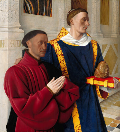 Jean Fouquet, 'Étienne Chevalier and Saint Stephen, left wing of the Melun Diptych', 1450