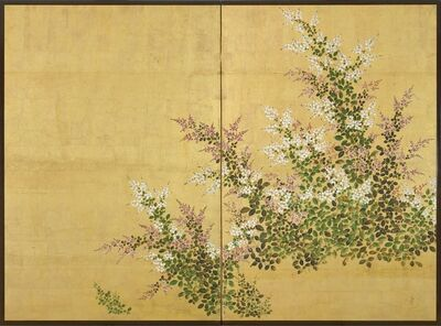 Rimpa School, Japan, 18th century, Edo period, 'A two-fold screen painted in ink and colour on a gold ground depicting bush clover', 18th century-Edo period