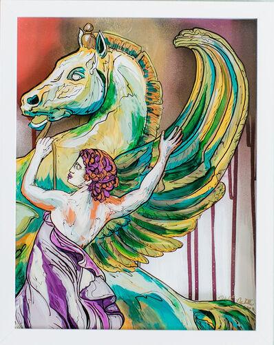 Whitney Pintello, 'Athena Tames Pegasus- Abstract Greek Mythology in Contemporary Surrealist Style ', 2020