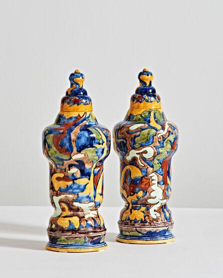 T.A.C. Colenbrander, 'Colorful Vase Pair', 1886