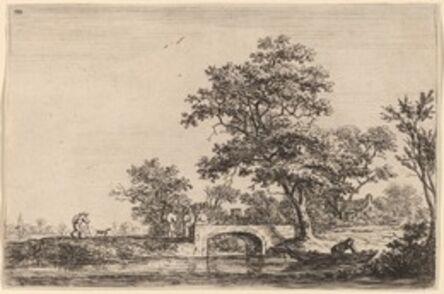 Anthonie Waterloo, 'Four Men on a Stone Bridge'