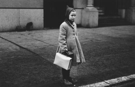 Diane Arbus, 'Girl with a pointy hood and white schoolbag at the curb, N.Y.C. ', 1957