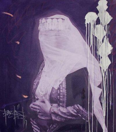 Firouz Farmanfarmaian, ' A Woman with a Veil in Purple (Panel II)', 2017