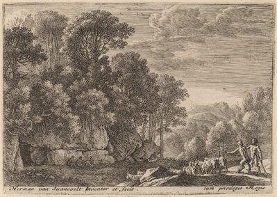 Herman van Swanevelt, 'Two Satyrs Tending a Flock of Goats'