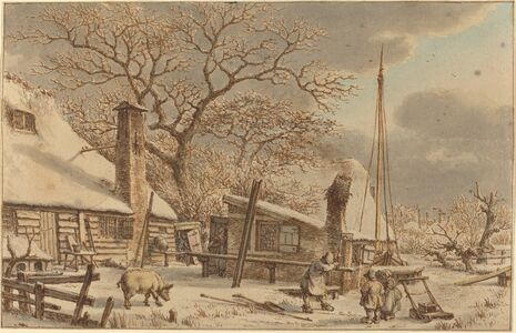 Jacob Cats, 'Farmyard in Winter', 1786