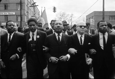 Steve Schapiro, 'Martin Luther King Marching for Voting Rights with John Lewis, Reverend Jesse Douglas, James Forman and Ralph Abernathy, Selma, 1965 ', 1965