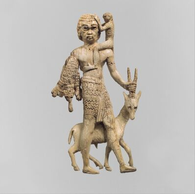 Unknown Assyrian, 'Statuette of a man with an oryx, a monkey, and a leopard skin', ca. 8th century B.C.