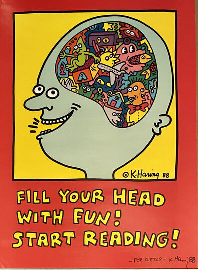 Keith Haring, 'Fill Your Head with Fun! Start Reading!', 1988