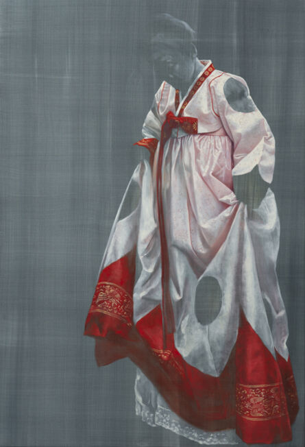 Helena Parada-Kim, 'Hanbok in red and white', 2020