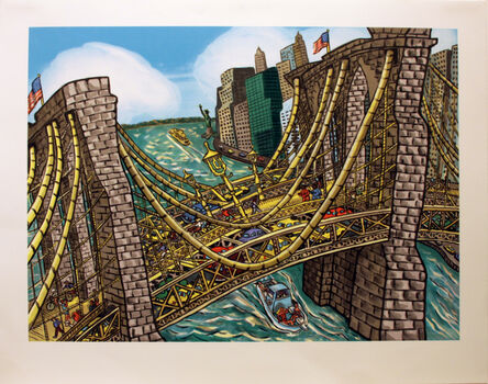 Red Grooms, 'Brooklyn Bridge Bustle', 2002