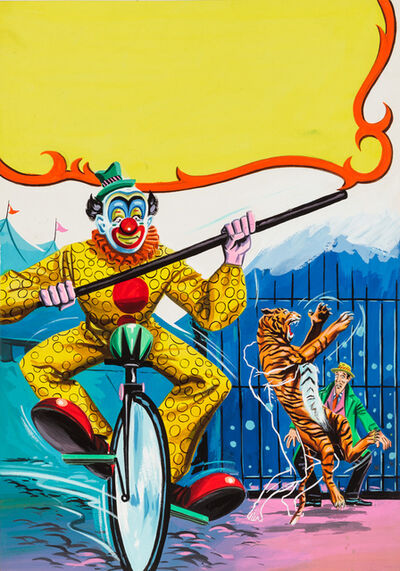 'Untitled (Clown riding unicycle while outline man attacks tiger)', C. 1960-75