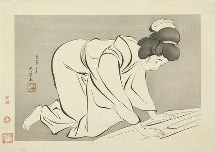 Goyo Hashiguchi, 'Woman Folding Kimono', Designed 1920