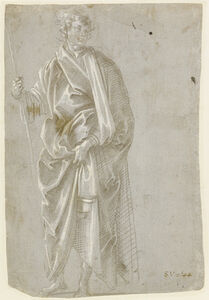 Filippino Lippi, 'Standing Saint (recto), Studies of Christ at the Column, a Nude from Behind, and Various Figures (verso)', 1482
