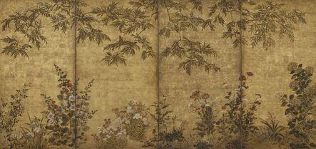 Tawaraya Sōtatsu, 'Mimosa Tree, Poppies and Other Summer Flowers. Sōtatsu school, I'nen seal.', 1630-1670