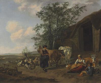 Gerrit Adriaensz. Berckheyde, 'An Italianate landscape with peasants outside a barn'