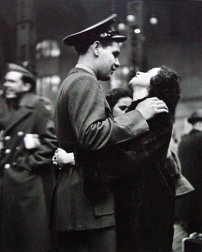 Alfred Eisenstaedt, 'Farewell at Pennsylvania Station (Man Embracing Woman with Dark Hair_'