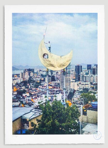 JR, 'Casa Amarela, JR on the moon, Favela Morro da Providência, Rio de Janeiro, Brazil, 2017', 2018