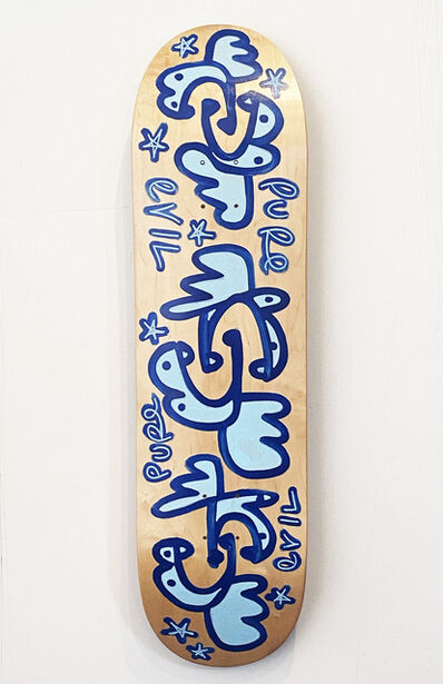 Pure Evil, ''Ghosts on the Highway' Hand-Painted Skateboard Deck', 2020