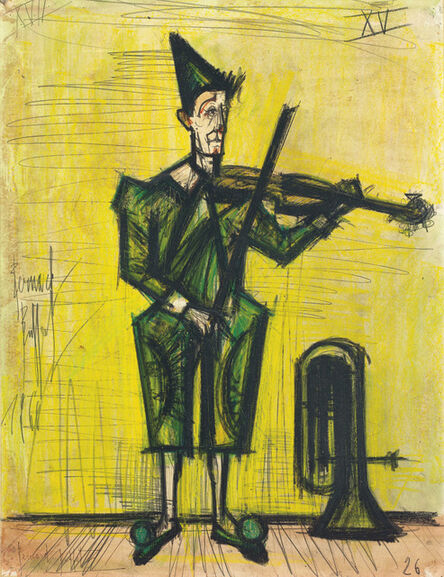 Bernard Buffet, 'Le Cirque, le clown musicien', 1966