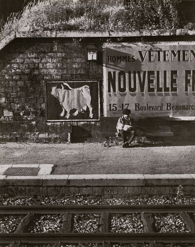 André Kertész, 'Fontenay with Boy (Boy at Railroad Track on Bench)', 1933 / 1930s