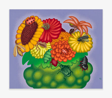 Peter Saul, 'Bowl of Flowers with Insects', 2020