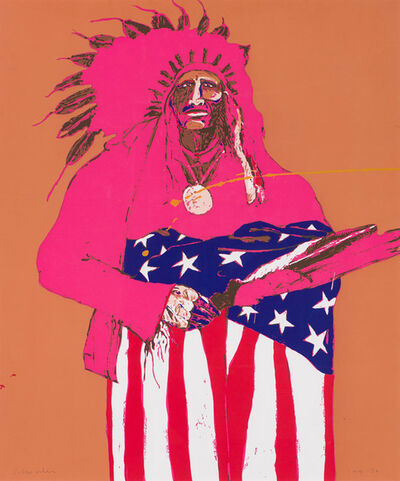 Fritz Scholder, 'Last Indian with American Flag', 1976