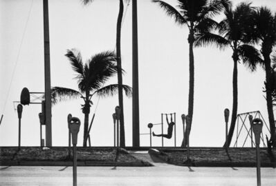 René Burri, 'USA. Florida. Fort Lauderdale. Man exercising on a beach, not far from the port where nuclear submarines are stationed. ', 1966