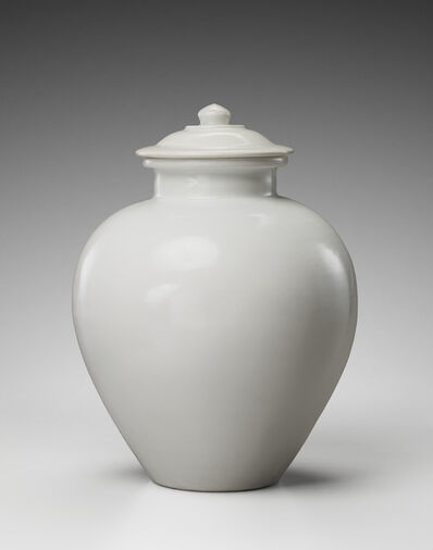 'White-glazed pottery jar and cover, Tang Dynasty(618-907)', ca. 9th century
