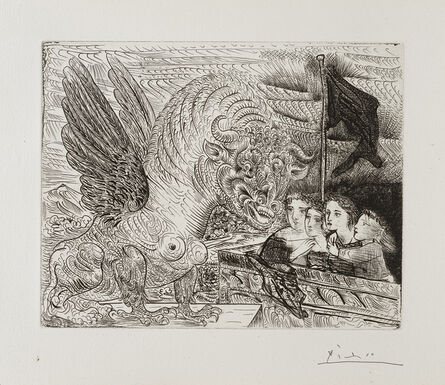 Pablo Picasso, ''Harpye à tête de Taureau, et quatre petites Filles sur une Tour surmontée d'un Drapeau noir' from the 'Suite Vollard'', 1931