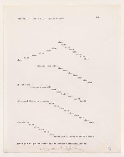 Henri Chopin, 'Churchill = Church III = Eglise Malade', 1964