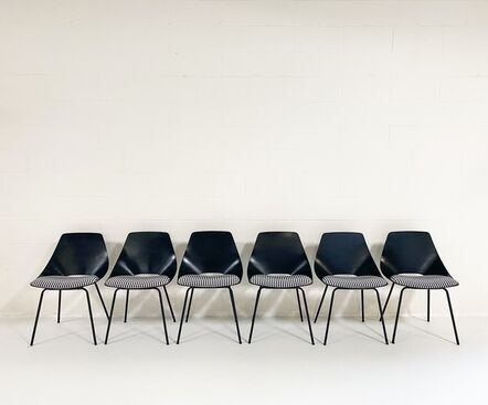 """Pierre Guariche, 'Tonneau Dining Chairs in Stevie Howell """"Reach"""" Fabric, set of 6', ca. 1954"""