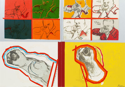 Larry Rivers, 'A Group of 13 Works from The Boston Massacre portfolio, 1970, including: Portfolio Cover, Untitled (Green), Meanwhile in Europe, Soldiers, 40th Regiment, Kneeling Soldiers, Soldiers Aiming Guns, Wounded Soldiers, For Crispus, Man Aiming Gun, Ease, Some (Visual) Afterthoughts, and Soldier'