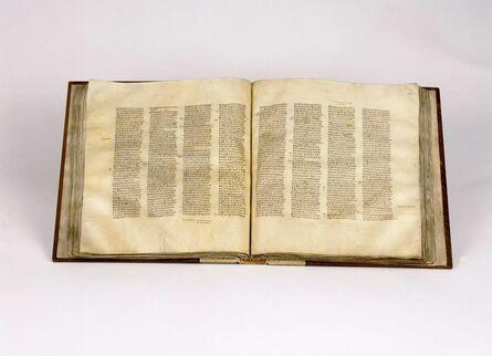 'Codex Sinaiticus, open at John chapter 5 verse 6 - chapter 6 verse 23, New Testament volume'