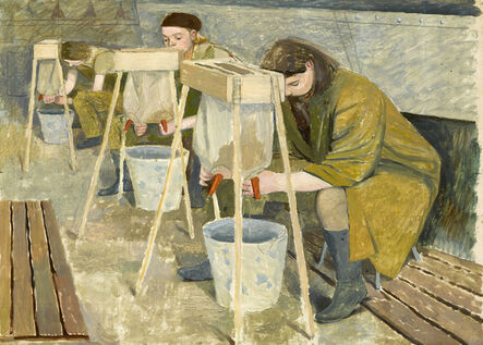 Evelyn Dunbar, 'Milking Practice with Artificial Udders', 1940
