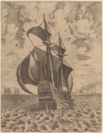 Frans Huys after Pieter Bruegel the Elder, 'Armed Four-Master Sailing towards a Port', 1565