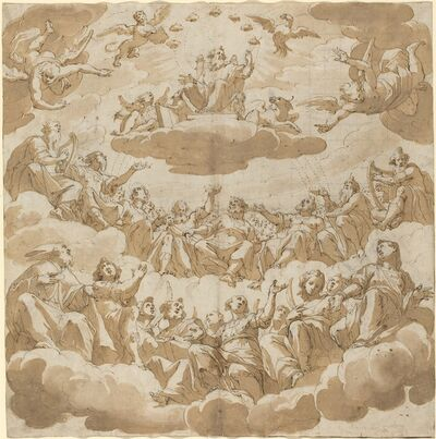 Giovanni Battista Trotti, 'God Enthroned Surrounded by Saints', possibly 1585/1590