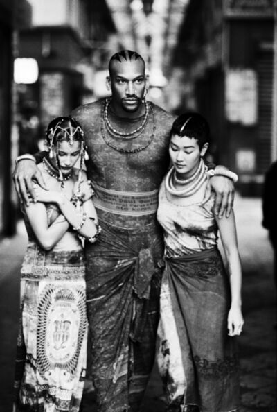 "Ellen von Unwerth, 'Survivors (Laetitia Casta, Vladimir McCary, Jenny Shimizu) (Jean Paul Gaultier's ""Tattoos"" women's spring-summer ready-to-wear collection of 1994)', 1998"