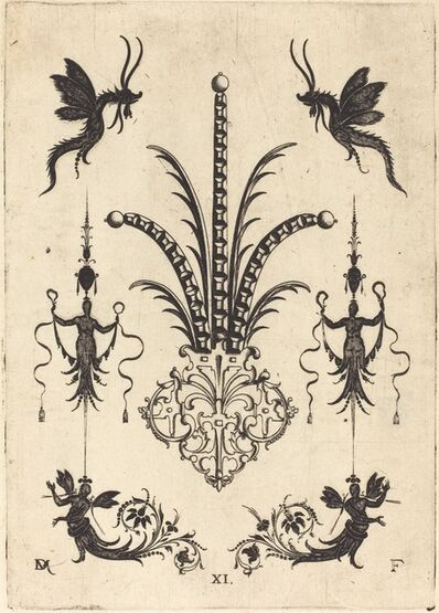 Daniel Mignot, 'Brooch with Table-Stones, Winged Animals at Top, and Winged Human Beings at Bottom', 1596